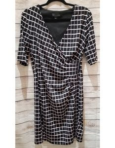 Connected Apparel Black and Pink Gathered Dress